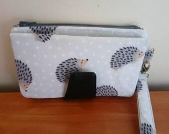 Hedgehog fabric purse wristlet mothers day