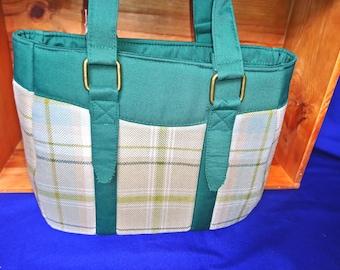 Green tweed tote handbag
