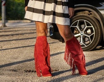 Authentic native boots with FRINGES / red goat suede loafers / Barefoot boots / Western camose ankle boots