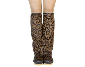 WOMAN BOOTS winter  handmade PONY leo,Moccasin Boots,Womens Moccasins,Pony Moccasins,Leather Boots,Womens Boots, size in stock 38UE