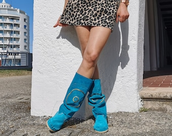 STAR women's boots with tube leg / Summer women's high moccasins / Turquoise suede boots hand embroidered / Сountry style