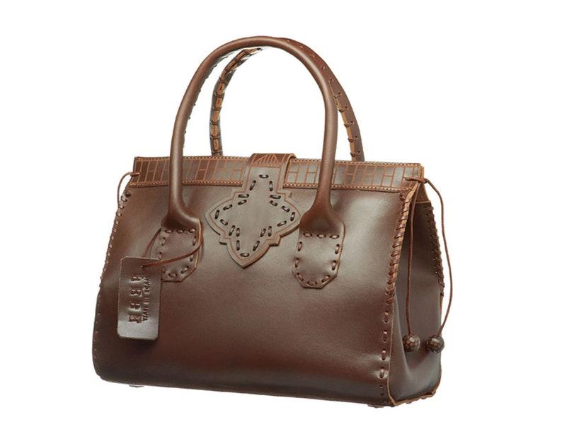 Brown leather bag making a handmade italian leather bag  raw cut  chocolate brown trunk