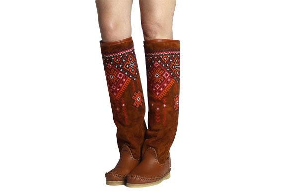 EMBROIDE rojo  INDIANS free shipping WINTER WINTER WINTER bots  ante rust handmade  botas   botas  with fur winter mocasins all tamaños ab4422
