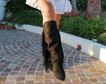 Authentic native boots with FRINGES / high loafers in white / Barefoot boots / Western suede ankle boots