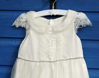 9-12 months silk organza baby girl's christening gown ready for dispatch