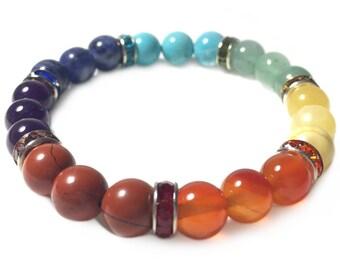 Chakra Bracelet, 7 Chakras, Crystal Bracelet, Gemstone Beaded Bracelet, 7 Chakras Jewelry, Chakra Jewelry, Beaded Bracelets, 8mm Bracelet