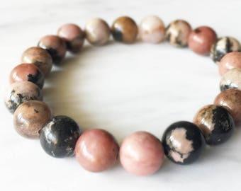 Rhodochrosite Bracelet, Rhodochrosite, Crystal Bracelet, Gemstone Beaded Bracelet, Rhodochrosite Jewelry, Chakra Jewelry, Beaded Bracelets