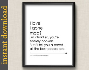 Mad Hatter Quotes | Mad Hatter Quote Etsy
