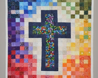 Mosaic Rainbow Color Cross Quilted Wallhanging