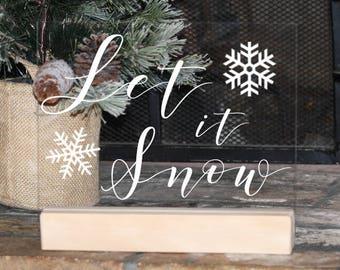 Let it Snow Acrylic Christmas Sign, Modern Christmas Decorations, Minimalist Christmas Decor, mantle decor, Christmas mantle, Gold Modern