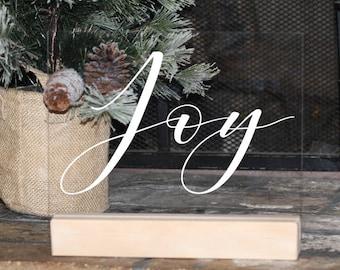 Joy Acrylic Christmas Sign, Modern Christmas Decorations, Minimalist Christmas Decor, mantle decor, Gold Wood Rustic Modern Christmas Joy