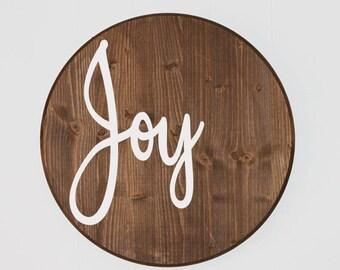 Round Joy Christmas Sign, wood Christmas Decorations, Minimalist Christmas Decor, mantle decor, Boho Wood Rustic farmhouse Christmas Joy