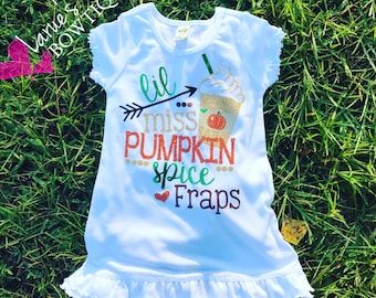 626ee7a1 Little Miss Pumpkin Spice Fraps dress/ Toddler Cotton dress/ Fall Dress/  Fall Pjs