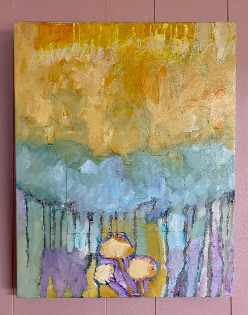 Sky Blue Trees Original Abstract Painting image 0