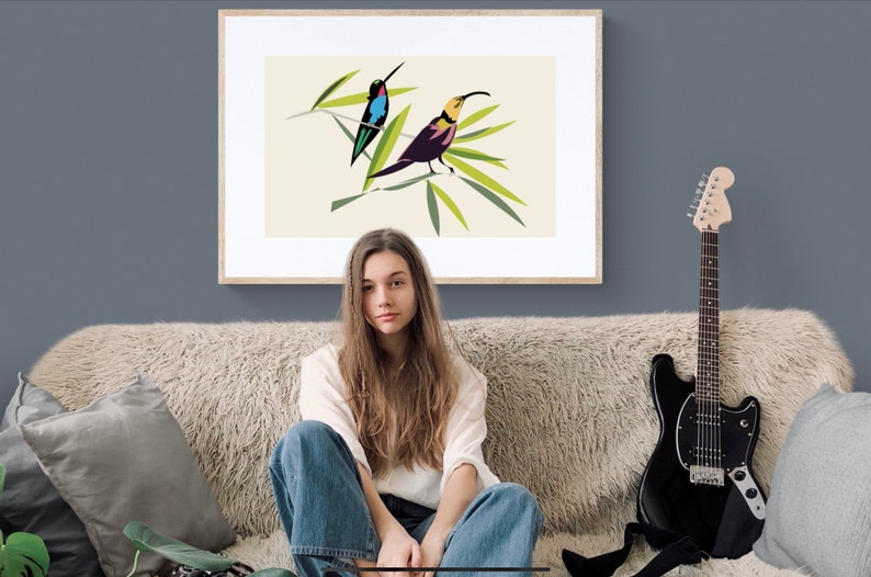 Printable wall Art Bird Illustration Digital Download limited image 0