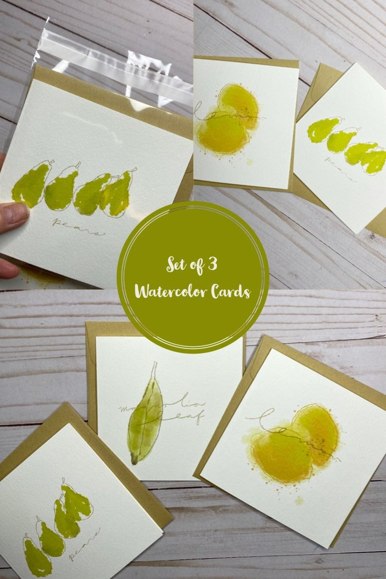 Set of Three Watercolor Note Cards image 0