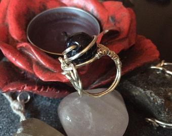 """Ring name: """"The universe at your fingertips"""" -Blue Goldstone wire wrapped ring"""