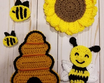 Crochet Pattern Only Save The Hunnys applique set, bees, beehive, sunflower