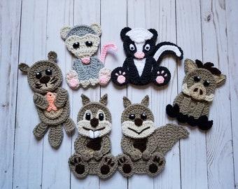 4ca779c4655 3 Applique Pack- Crochet Pattern Only- Otter- Warthog- Opossum- Skunk-  Squirrel- Woodchuck- Crochet Applique Pattern