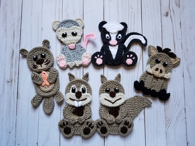 Woodland animals vol applique pack crochet pattern only etsy