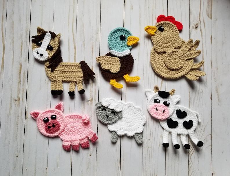 Barn yard pals applique pack crochet pattern only farm etsy