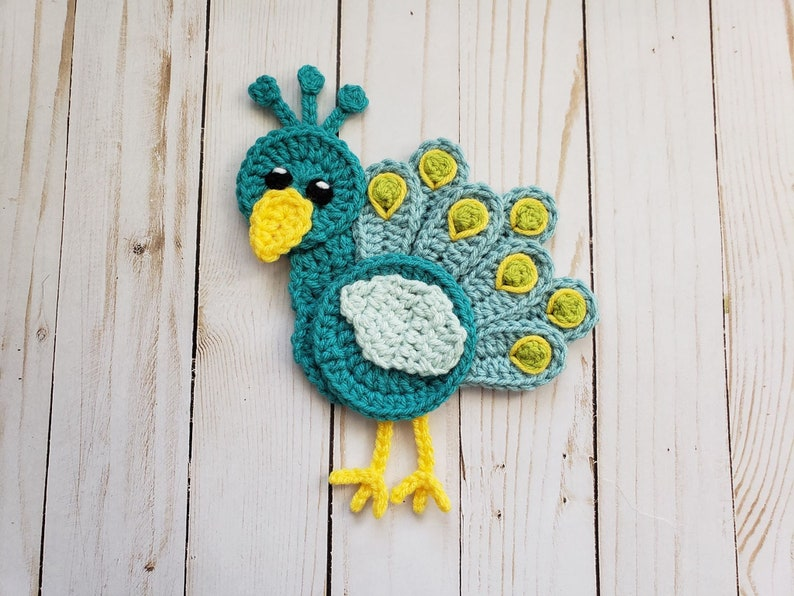 Peacock Applique Pack Crochet Pattern Only Peacock Crochet Etsy