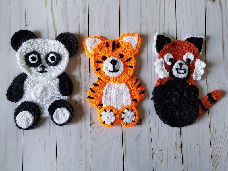 Animals of asia applique pack crochet pattern only panda etsy