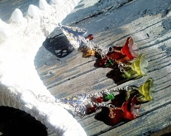 Silver Chain Dangle Earrings|  Swarovski Crystal Yellow Green | Sterling Silver Ear Hooks Women's Earrings | Lady Green Eyes Jewelry