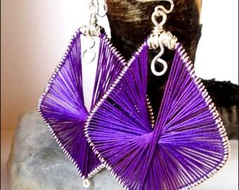 Purple Silk Wrapped Women's Earrings | Sterling Silver Earrings | Women's Dangle Earrings | Sculpted Earrings | Lady Green Eyes Jewelry