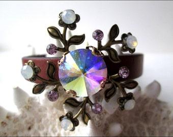Antiqued Brass Floral Crystal Leather Bracelet | Women's Brown Leather Bracelet | Swarovski Crystal Bracelet | Lady Green Eyes Jewelry