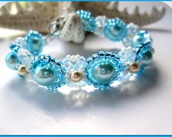 Aqua Glass Pearl Cream Swarovski Pearl Women's Bracelet | Swarovski Crystal Cream Pearl Women's Bracelet | Lady Green Eyes Jewelry