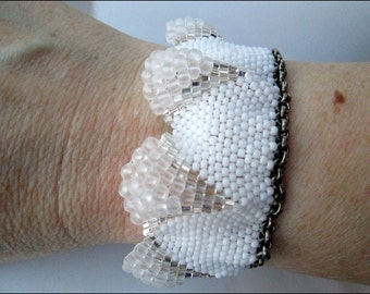 White Hand Beaded Crystal Women's Cuff | Chain Cuff Women's Bracelet | White Crystal and Chain Cuff Bracelet | Lady Green Eyes Jewelry