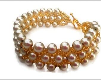 Gold Pearl Women's Bracelet | Glass Almond Pearl Women's Bracelet | Gold Plated Women's Bracelet | Lady Green Eyes Jewelry