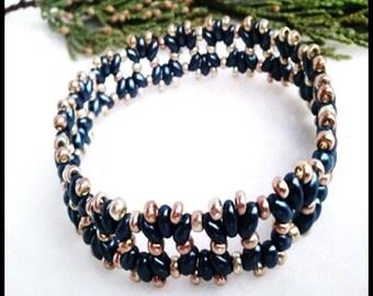 Midnight Blue Gold Beaded Stretch Women's Bracelet | Hand Beaded Dark Blue Gold Women's Bracelet | Lady Green Eyes Jewelry