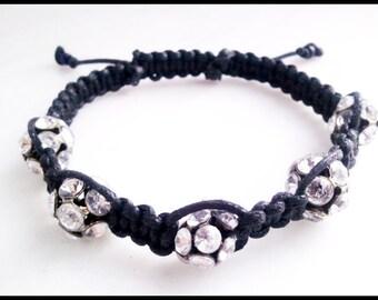 Adjustable Shambala Style Crystal Black Bracelet | Black Macrame Crystal Shambala Women's Bracelet | Lady Green Eyes Jewelry