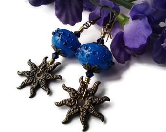 Blue Lampwork Glass Women's Earrings | Antique Brass Sun Earrings | Wire Wrapped  Blue Women's Earrings | Lady Green Eyes Jewelry