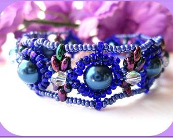 Navy Blue Glass Pearl Women's Bracelet | Hand Beaded Women's Bracelet | Swarovski Blue Crystal Women's Bracelet | Lady Green Eyes Jewelry