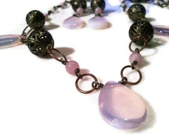Opalite Pink Drop Antique Brass Women's Necklace | Earrings Set | Lady Green Eyes Jewelry