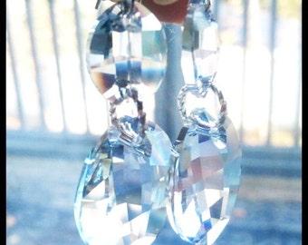 Swarovski Crystal Women's Earrings | Faceted Oval Drop | Sparkly Crystal Swarovski | Silver Dangle Earrings | Lady Green Eyes Jewelry