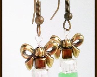 Green Swarovski Crystal Christmas Earrings | Bronze Finish Pewter Bow | Christmas Crystal Dangle Earrings | Lady Green Eyes Jewelry