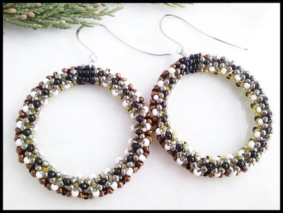 Women's Hoop Earrings | Brown Copper | Black White Beaded Chenille Stitch | Holiday Women's Hoop Earrings | Sterling | Lady Green Eyes