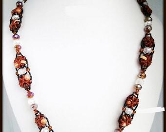 Red Brown Crystal Black Beaded Women's Necklace | Hand Beaded Amber Red Caramel Crystal Necklace | Lady Green Eyes Jewelry