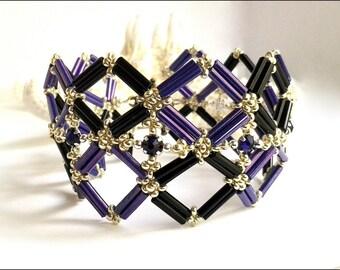 Purple Swarovski Crystal Women's Bracelet | Purple Black Silver Women's Bracelet | Diamond Pattern Bracelet | Lady Green Eyes Jewelry