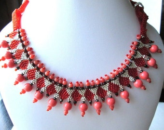 Orange Glass Pearl Hand Beaded Women's Necklace | Orange Silver Triangle Pattern Beaded Pearl Drop Necklace | Lady Green Eyes Jewelry