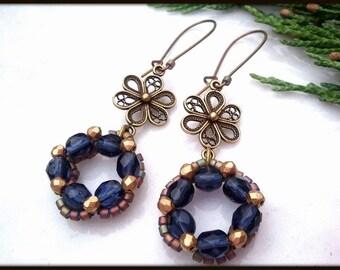 Christmas Victorian Blue Glass Wreath Women's Earrings | Antique Brass Flower Holiday Wreath Women's Earrings | Lady Green Eyes Jewelry