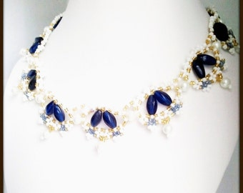 Cobalt Blue Women's Necklace | White Glass Pearl Drop Gold Bead  | Hand Beaded Cobalt Blue Pearl Women's Necklace | Lady Green Eyes Jewelry