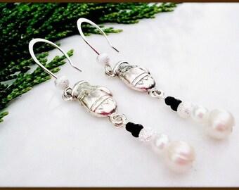 Fresh Water Pearl Silver Mitten Snowman Women's Earrings | White Pearl Holiday Snowmen Women's Earrings | Lady Green Eyes Jewelry