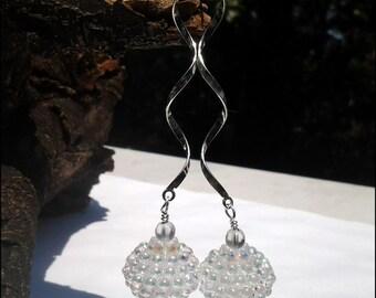Sterling Silver Women's Swirl Dangle Earrings | Rainbow Sterling Silver Dangle Women's Earrings |  Lady Green Eyes Jewelry