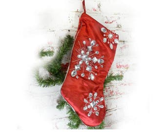 red christmas stocking fancy christmas stocking xmas stocking jeweled christmas stocking lined stocking 6