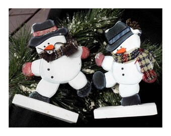Wood Snowman decor , Frosty the Snowman Figurine - Snowman decor -- folk art snowman -   # 82